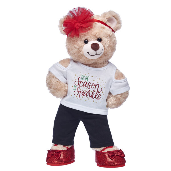 'Tis the season to sparkle! Happy Hugs Teddy looks cute as can be in this festively fun teddy bear gift set.