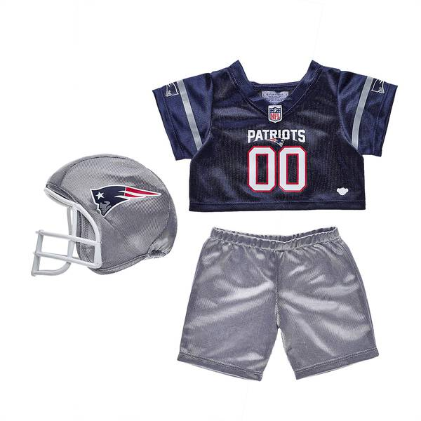 Tackle some fun! This teddy bear-sized New England Patriots NFL Fan Set comes complete with jersey, pants and a soft helmet. It makes the perfect gift for Patriots fans! © 2018 NFL Enterprises LLC. Team names/logos are trademarks of the teams indicated.
