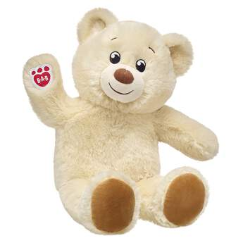 Cream Colored Teddy Bear Sitting and Waiving