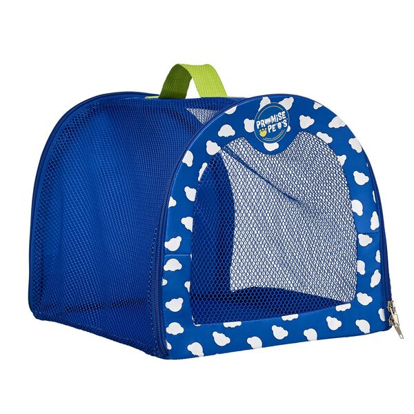 Take your favorite Promise Pet with you wherever you go with this handy pet carrier! This blue stuffed animal carrier can hold one four legged friend. Complete the perfect gift by adding this carrier to any Promise Pet!