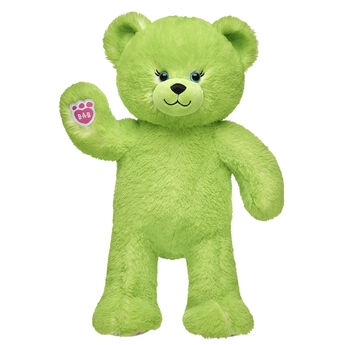 lime green candy pop teddy bear standing and waiving