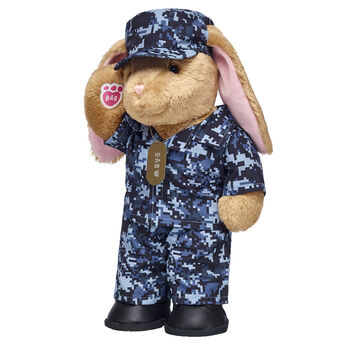 Awesome gift ideas, reporting for duty! This soldier bear gift set is a thoughtful gift idea for any servicemember, veteran or family member. Salute someone special by giving them this cuddly plush bunny gift set! <p>Price includes:</p>  <ul>    <li>Pawlette™</li>     <li>Navy Digital Camo Outfit 3 pc.</li>    <li>Black Combat Boots</li>    <li>Blue Digital Camo Messenger Hat</li> </ul>