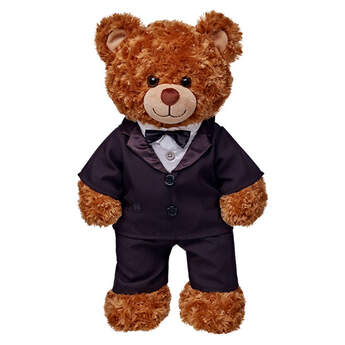 Dress your stuffed animal for a formal affair with the Teddy Bear Black Tuxedo. The teddy bear size tuxedo includes a black jacket with bowtie and black pants. It's the pawfect furry formal wear! PLEASENOTE: Price does not include stuffed animal shown.
