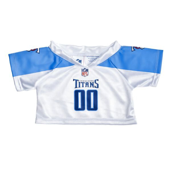 Reach for the end zone and score big in this officially licensed Tennessee Titans NFL jersey. The road white jersey features Titan blue sleeves and numbers with the team logo and NFL insignia.Officially Licensed Product of the NFL.