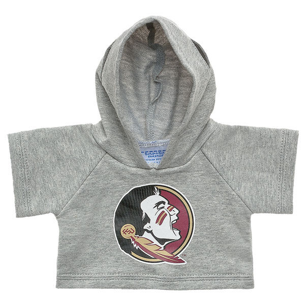Officially licensed Florida State University Hoodie. This teddy bear size gray hoodie has a Seminoles graphic on the front. It's the perfect size for a new furry friend.© 2015 Florida State University