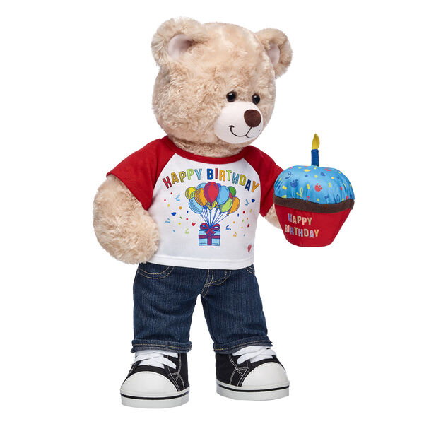 CeleBEARate the birthday boy with this adorable five-piece gift set! With a cool birthday outfit and plush cupcake on its paw, Happy Hugs Teddy is all set to help the birthday boy blow out his candles!  <p>Price includes:</p>  <ul>    <li>Happy Hugs Teddy</li>    <li>Red Happy Birthday T-Shirt</li>    <li>Denim Jeans</li>    <li>Blue Frosting Birthday Cupcake</li>    <li>Black Canvas High-Tops</li> </ul>