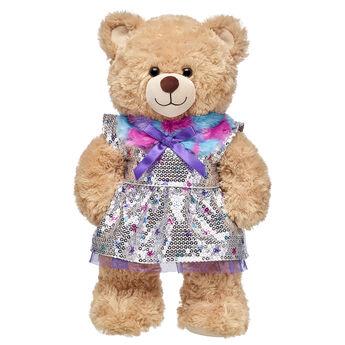 Honey Girls Fur Collar Sequin Dress, , hi-res