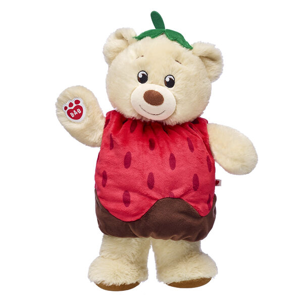 creme teddy bear with chocolate covered strawberry costume valentines day gift bundle