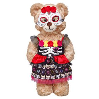 The colorful Mexican holiday of remembrance gets an outfit of its own for your furry friend! This fanciful costume features a black dress with flowers, red ruffle and a cat pattern, and a Day of the Dead mask.