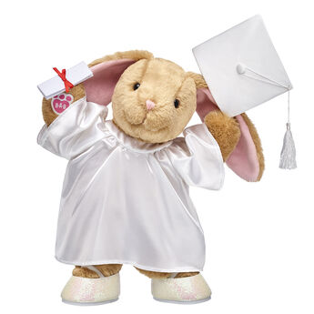THEY DID IT! The special graduate in your life is all set to hop into their bright future - and Pawlette can come along for the ride! With her fun graduation outfit and sash, this adorable gift set is perfect for anyBUNNY.  Add an extra personal touch with a special message YOU record to make the perfect gift for any graduate! As you complete your online order, you will be asked to call a special toll-free number to record your own personalized 20-second message. Your message will play from inside your furry friend every time it's hugged!<p>Price includes:</p>  <ul>    <li>Pawlette™</li>     <li>White Graduation Set 4 pc.</li>    <li>Class of 2018 Graduation Sash</li>    <li>White Sparkle Flats</li>    <li>Record Your Voice Message</li> </ul>