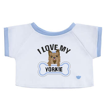 "Feisty and loving, Yorkies have a sweet way of leaving paw prints on our hearts. Show off your Yorkie pride with a furry friend dressed in this cute ""I Love My Yorkie"" T-shirt!"