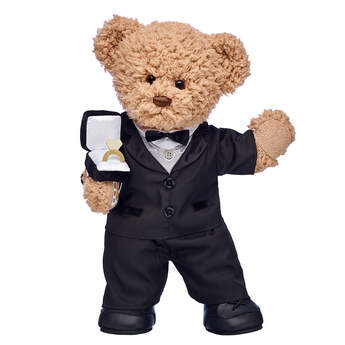 Timeless Teddy Groom and Plush Ring Box Gift Set, , hi-res
