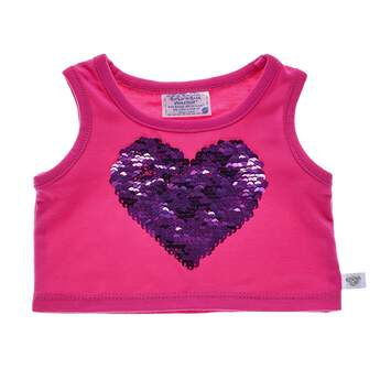 Best friends Forever! This pink tank top features a purple sequin heart in the middle. The sequins are reversible and reveal a silver BFF heart.