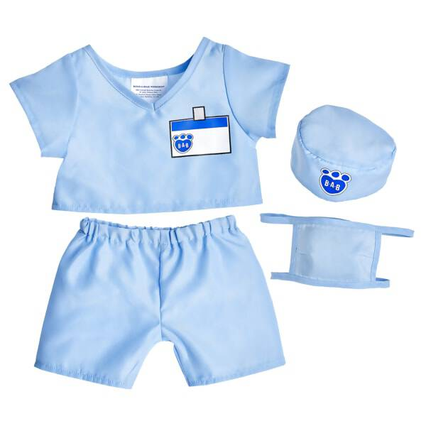 Your furry friend will be a real life saver in this Blue Scrubs Outfit. The short sleeve scrub top has a place to write your furry friend's name. It also includes coordinating pants, a cap and a mask. It's perfect for the doctor, nurse or patient in your life.