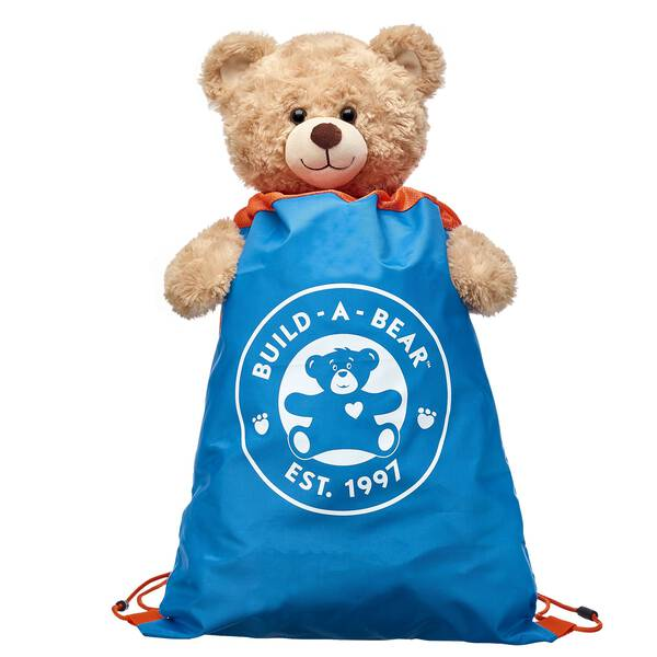 Take your furry friend on-the-go with this blue & orange drawstring backpack! Find stuffed animals, clothing & accessories for any occasion at Build-A-Bear.