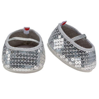 Flair for your bear! These teddy-bear sized Silver Sequin Flats make paws shine! Fashionable and sparkly, the teddy bear size Silver Sequin Flats are a great compliment to any outfit.