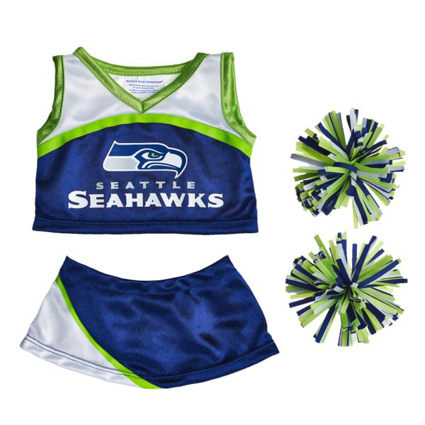 Go Seahawks! Dress your furry friend in this Seattle Seahawks Cheerleading Uniform to cheer on your team. This blue and green uniform includes a top, skirt and pom poms.Officially Licensed Product of the NFL.