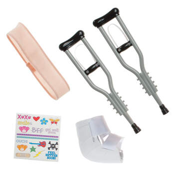 Send get well hugs! This Teddy Bear Crutches Set is the perfect accessory when you want to wish someone a speedy recovery. Teddy bear-size crutches set includes 2 silver crutches, cast, bandage, and stickers.