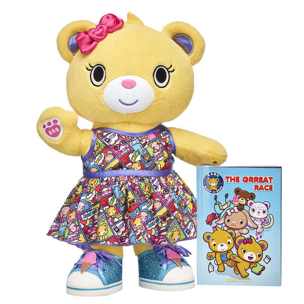 "Life's a wild ride with the Kabu crew by your side! Bearnice is ready to explore Pawston in her comic strip dress and ice cream sneakers. Plus, this stuffed animal gift set includes a copy of the all-new Kabu graphic novel """"The Grreat Race""""! <p>Price includes:</p>  <ul>    <li>Kabu™ Bearnice</li>     <li>Kabu™ Comic Strip Dress </li>    <li>Kabu™ Ice Cream Sneakers </li>    <li>Kabu™ """"The Grreat Race"""" Graphic Novel</li> </ul>"