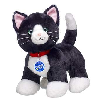 Tuxedo Cats are known for their fancy markings. These black plush cats have white patches on their chests and paws that look like a tuxedo. These happy, relaxed kitties love to play. Personalize your Plush Tuxedo Cat with outfits and accessories to make the perfect unique gift!