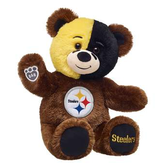 Go Steelers! Cheer on the Pittsburgh Steelers with your very own Pittsburgh Steelers Bear. This dark brown furry friend is ready for game day with the Steelers logo on its stomach. Plus, the fur on its face features the team's signature colors! Add a football uniform to make the perfect gift for any sports fan!