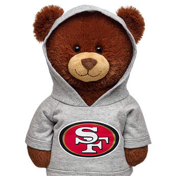 Touchdown! Cheer on the San Francisco 49ers with this teddy bear sized hoodie. This gray hoodie with team logo makes the perfect gift for any football fan.© 2015 NFL Enterprises LLC. Team names/logos are trademarks of the teams indicated.