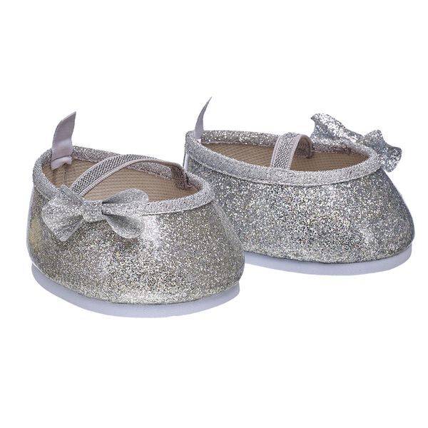 Silver Sparkle Bow Flats, , hi-res
