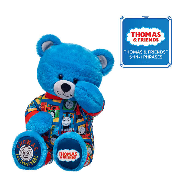 This cuddly Thomas & Friends™ gift set makes a wonderful gift for little engineers! They'll love cuddling with their own Thomas & Friends™ Bear in its cozy pajama sleeper. Plus, they'll be able to hear the voice of the most famous tank engine in the world with the included Thomas & Friends™ 5-in-1 Phrases! © 2018 Gullane (Thomas) Limited.