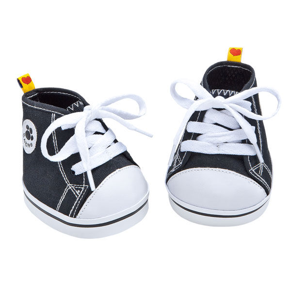 These shoes look great with any outfit! Add a pair of teddy bear size Black Canvas High Tops to your stuffed animal's wardrobe. Order yours online today at Build-A-Bear Workshop.