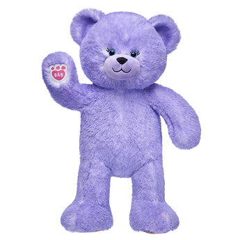 purple candy pop teddy bear standing and waiving