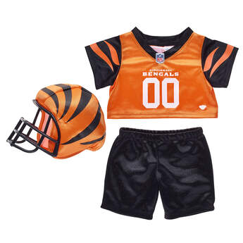Get ready for game day with this Cincinnati Bengals fan set! This three-piece uniform comes complete with a jersey, pants and soft helmet. This set makes a touchdown of a gift for football fans! ® 2018 NFL Enterprises LLC. Team names/logos are trademarks of the teams indicated.