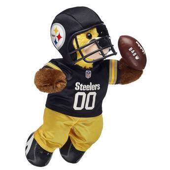 Go Steelers! Cheer on the Pittsburgh Steelers with your very own Pittsburgh Steelers Bear. This dark brown furry friend is ready for game day with the Steelers logo on its stomach. Plus, the fur on its face features the team's signature colors! Add a football uniform to make the perfect gift for any sports fan! © 2017 NFL Enterprises LLC. Team names/logos are trademarks of the teams indicated at Build-A-Bear®