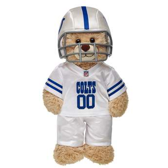 Teddy bear size Indianapolis Colts NFL Fan Set complete with jersey, pants and soft helmet makes the perfect gift for Colts fans!© 2014 NFL Enterprises LLC. Team names/logos are trademarks of the teams indicated.
