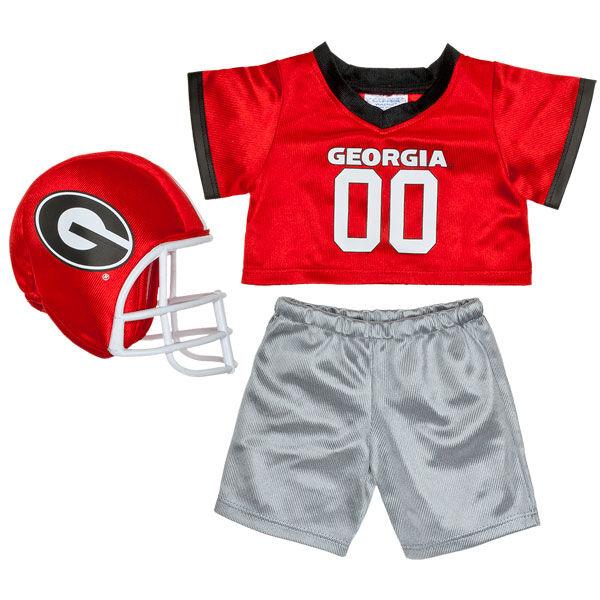Officially licensed teddy bear size University of Georgia football uniform. Go Bulldogs!