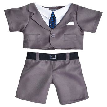 Looking sharp! Dress your furry friend in this Gray Business Suit. It includes a gray suit coat with attached white shirt and a black and blue tie. The coordinating gray pants have a black belt graphic.