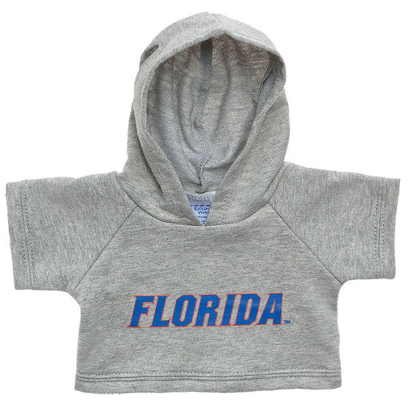 Officially licensed University of Florida Hoodie. This teddy bear size gray hoodie has a Florida graphic on the front. It's the perfect size for a new furry friend. Go Gators!© 2015 University of Florida