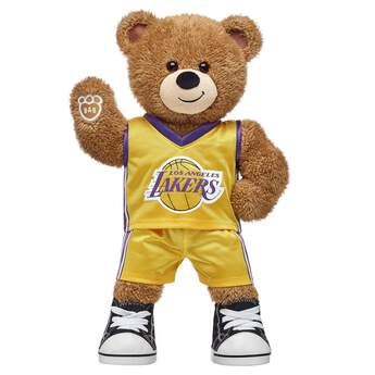 Go Lakers! If you're looking for a personalized gift for the Lakers fan in your life, this teddy bear gift set is nothin' but net! Basketball Bear is ready to hit the court in its two-piece Lakers uniform. NBA and NBA team identifications are the intellectual property of NBA Properties, Inc. and the respective NBA member teams. ©2018 NBA <p>Price includes:</p>  <ul>    <li>Basketball Bear</li>    <li>Los Angeles Lakers Uniform 2 pc.</li>    <li>Black Canvas High-Tops</li> </ul>