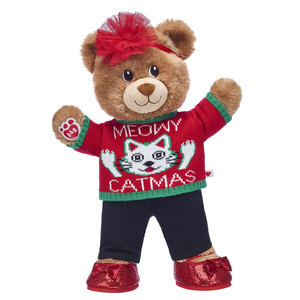 Meowy Catmas! Lil' Cub Brownie is an adorable teddy bear that makes a PURRfect way to add some cuddles to the Christmas season. This cute teddy bear gift set features this brown bear in a hilarious cat Christmas sweater!