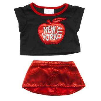 All that glitters is New York City! Let your furry friend dazzle and delight with this summery NYC outfit. The black tee has red trim and an embroidered red apple with NEW YORK CITY in glittering letters. The red satin skirt completes the shimmery outfit.
