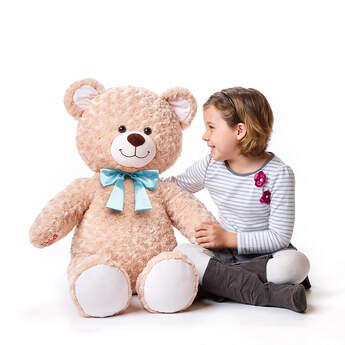 Online Exclusive Jumbo Happy Hugs Teddy with Blue Bow, , hi-res