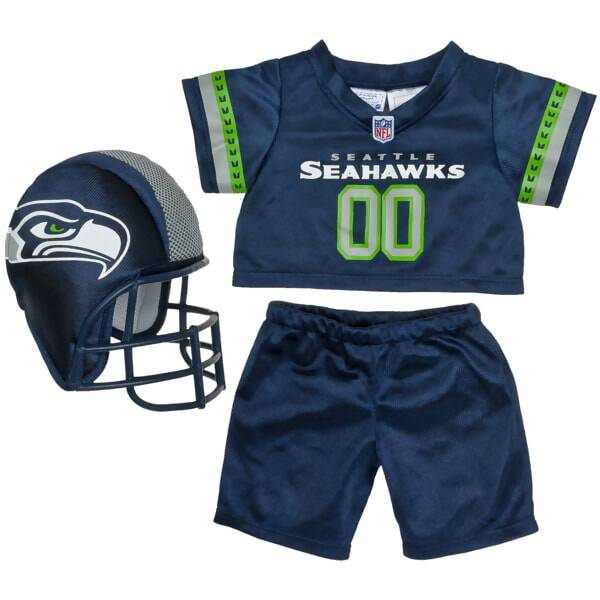 Teddy bear size Seattle Seahawks NFL Fan Set complete with jersey, pants and soft helmet makes the perfect gift for Seahawks fans!© 2014 NFL Enterprises LLC. Team names/logos are trademarks of the teams indicated.