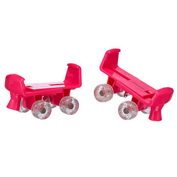 Your furry friend can let the good times roll while wearing this fun pair of roller skates! These fuchsia skates for stuffed animals feature glittery wheels and are a fun accessory for any furry friend. PLEASE NOTE: Skates fit best with flat-soled shoes.