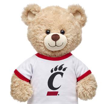 Officially licensed University of Cincinnati t-shirt. This teddy bear size tee has a Cincinnati graphic on the front. It's the perfect size for a new furry friend. Go Bearcats!
