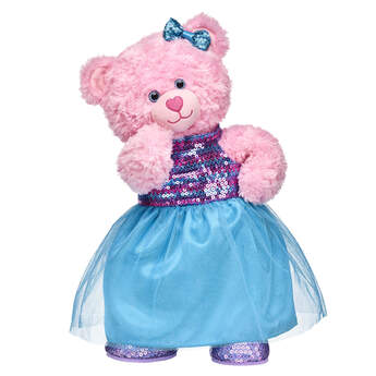 Prom night is a night to rememBEAR with this adorable teddy bear gift set! Pink Cuddles Teddy is dressed and ready for the big night in this gorgeous sequin dress. <p>Price includes:</p>  <ul>    <li>Pink Cuddles Teddy</li>    <li>Turquoise Sequin Dress</li>    <li>Multicolor Sparkle Bow Set 4 pc.</li>    <li>Purple Sequin Flats</li> </ul>