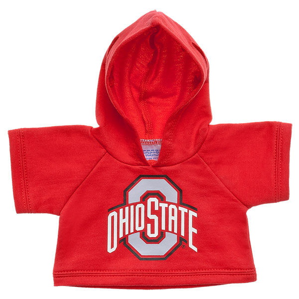 Officially licensed Ohio State University Hoodie. This teddy bear size red hoodie has an Ohio State graphic on the front. It's the perfect size for a new furry friend. Go Bucks!