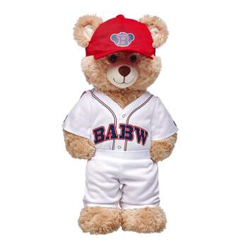 Play ball! Your furry friend will be ready to hit the field in this three-piece Build-A-Bear Workshop® stuffed animal baseball uniform set! This white stuffed animal baseball uniform comes with pants and a short sleeve top with BABW in red and blue lettering on the front. A red baseball cap featuring a blue bear emblem completes the look of this complete stuffed animal baseball uniform. Get ready for a grand slam on game day with this classic baseball uniform!