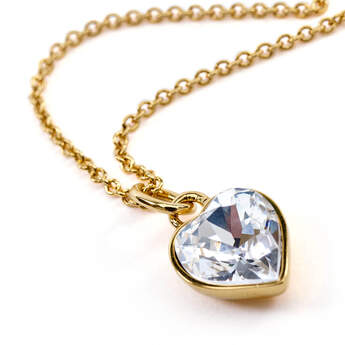 Online Exclusive Swarovski® Heart Stone Pendant Gold Necklace - Build-A-Bear Workshop®