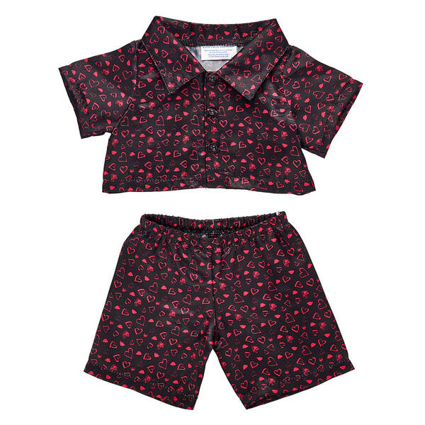 Online Exclusive Black Heart Satin Pajamas - Build-A-Bear Workshop®