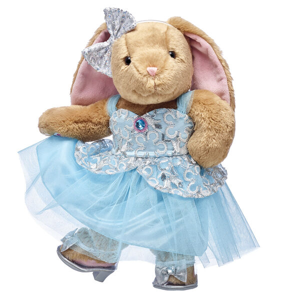 Ooh la la! Pawlette the bunny looks so pretty in this stunning blue dress! This stuffed animal gift set features this floppy-eared bunny with her dress, sparkly bow and heels.