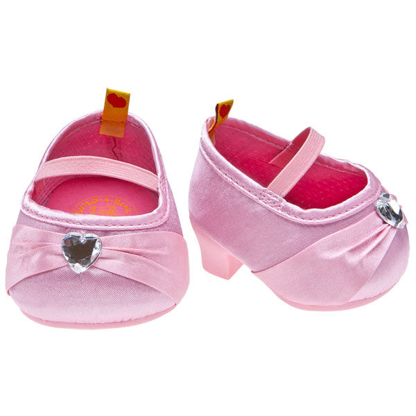 Add a classy pair of high heels to your teddy bear's attire. These pink gem heels are pink with gem accents and have a slight high heel on them.